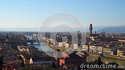 Een fabelachtig panorama van Florence van Michelangelo Square stock videobeelden