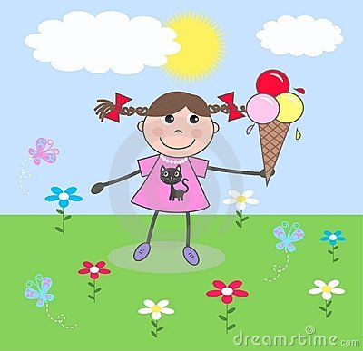 Een gelukkig meisje met een roomijs
