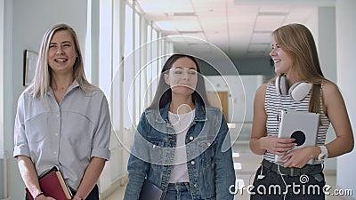 Een groep studenten loopt langs de gang van de universiteit, school, universiteit, communiceren, praten en glimlachen Een grote stock footage
