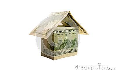 Een huis dat van dollarrekeningen wordt gemaakt