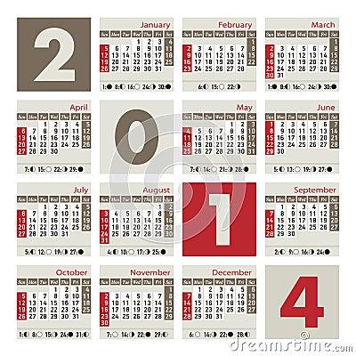 Een kalender van 2014