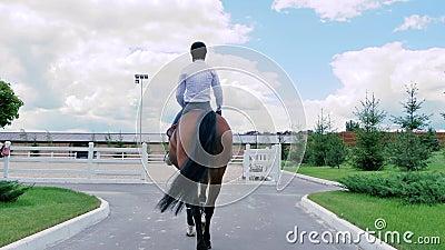 Een kerel berijdt op een paard aan de arena stock footage