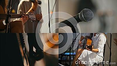 4 in 1: Een kleine muzikale band die in de studio spelen Jonge vrouw het spelen gitaar stock video