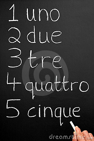 Een leraar die aantallen Italain schrijft.