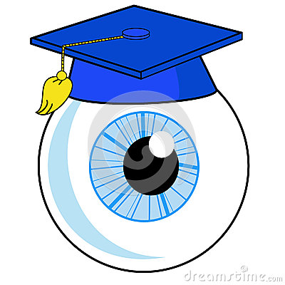 Een menselijk oog is in een universitaire hoed