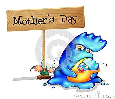 Een moedermonster met haar dochter dichtbij een uithangbord
