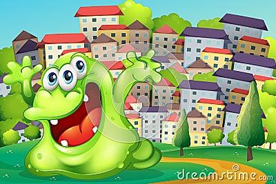 Een monster die voor vreugde bij de heuveltop over lange buildi schreeuwen