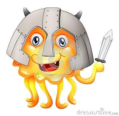 Een monster met een zwaard en een helm