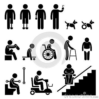 De Handicap van de geamputeerde maakt het Pictogram van de Mens van Mensen onbruikbaar