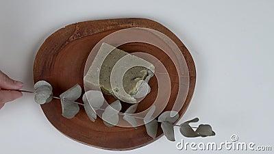 Een ronde houten raad met een bar van de zeep van de lavendeleucalyptus en een takje voor het stock footage