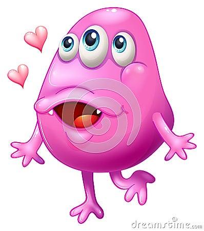 Een roze monster met twee harten
