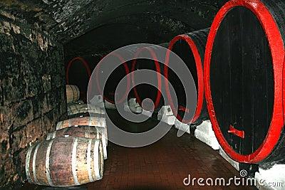 In een wijn-kelder.