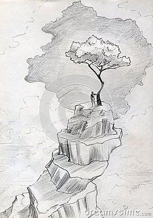 Eenzame boom op bergbovenkant