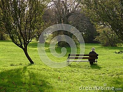 Eenzame vrouw in een park