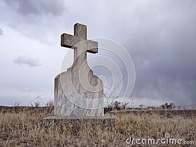 Eerie cemetery scene