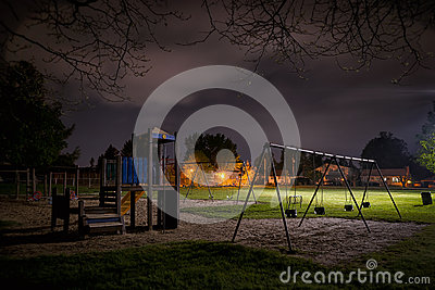 Eerie Children s Playground at Night