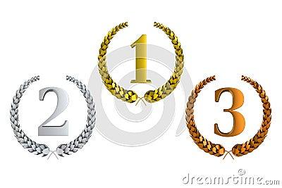 Eerst tweede en derde prijs 3d laurels