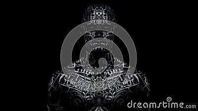 Efecto Trippy del espejo, hombre con la situación del arte de cuerpo en la oscuridad almacen de metraje de vídeo