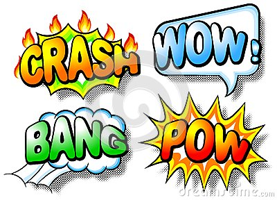 Effect bubbles with chrash, wow, bang and pow