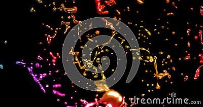 Effekt för färg för abstrakt sötvattenfärgstänk mång- med droppar på svart bakgrund, begrepp av utbildning och fantasi vektor illustrationer