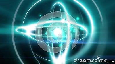 Effetto animazione atomico astratto dell'atomo della luce di forma della sfera con il neutrone del protone del nucleo nel volo de illustrazione di stock
