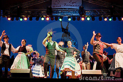 EGER - AUGUST 18: Traditional Hungarian folk dance Editorial Photo