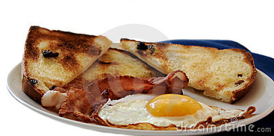 An egg, bacon, raisin toast
