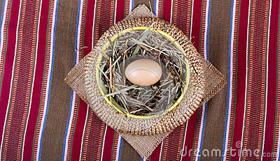 Egg in basket traditional still-life