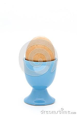 Egg in blue eggcup