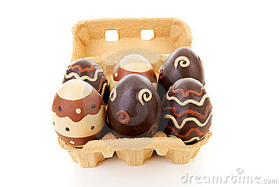 Egg carton with decorated easter eggs