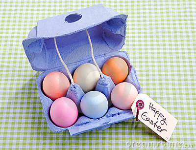 Egg carton with different colored Eggs