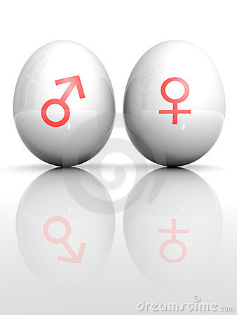 Egg with drawn Venus and Mars symbol