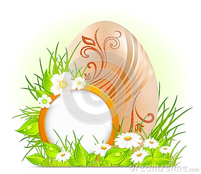 Egg with flowers & signboard