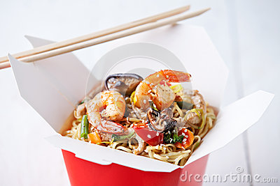 Egg noodles with shiitake, shrimp and pork