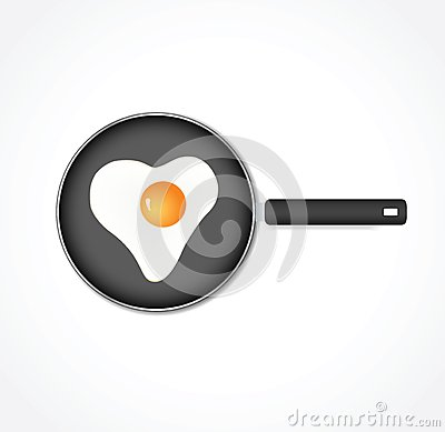 Egg in a pan in the form of heart