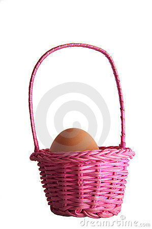 Egg in a pink basket