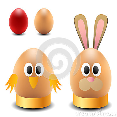 Egg rabbit and chicken for Easter