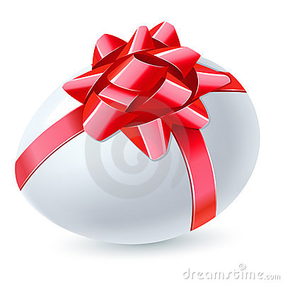 Egg with red bow