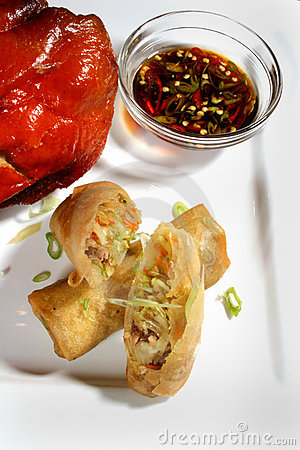 Egg roll and chicken dish