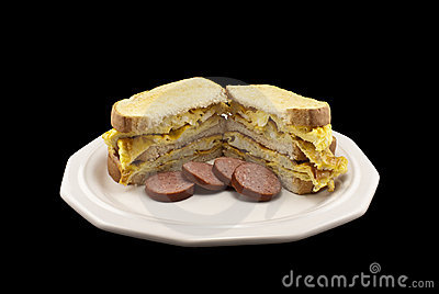 Egg Sandwich with Sausages