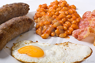 Egg, sausages, beans and bacon