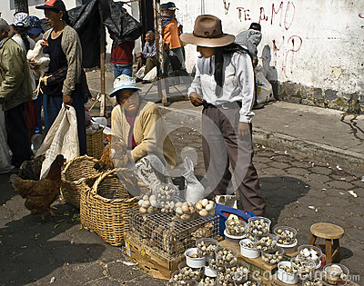 Egg Seller, Street Market, Ecuador Editorial Stock Photo