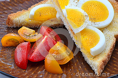 Egg slices on toast