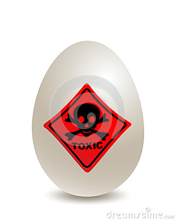Egg with Toxic shield Worn egg, scandal about contaminated eggs, food scandal, Vector Illustration