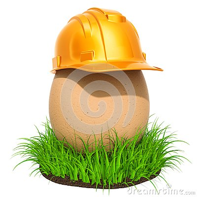 Free Egg With Construction Hardhat In The Green Grass, 3D Rendering Royalty Free Stock Photo - 145152835
