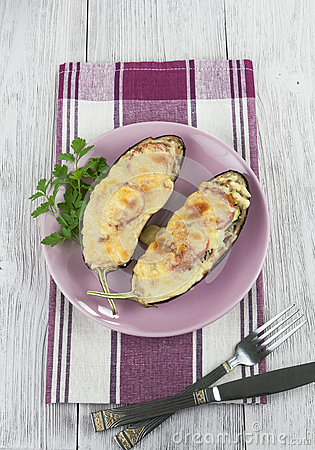 Eggplant baked with vegetables and cheese
