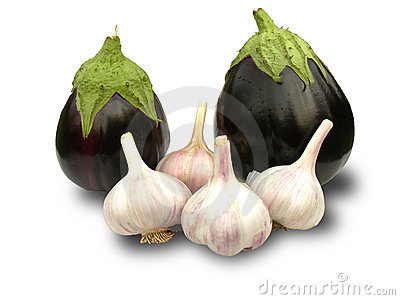 Eggplant and garlic.