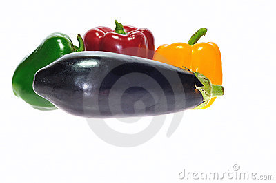 Eggplant and peppers.