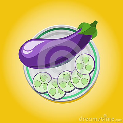 Eggplant on a plate with slices