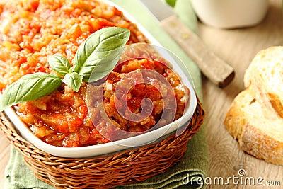 Eggplant salad (caviar) in bowl, ukrainian food